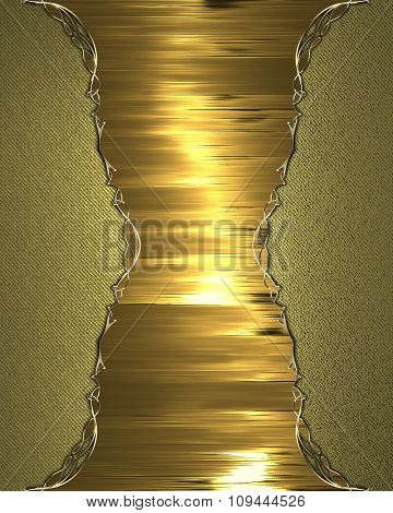 Golden Plate For Text. Element For Design. Template For Design. Copy Space For Ad Brochure Or Announ