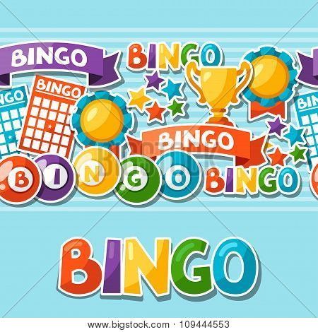 Bingo or lottery game seamless pattern with balls and cards