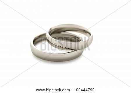 Silver Wedding Rings Isolated On A White