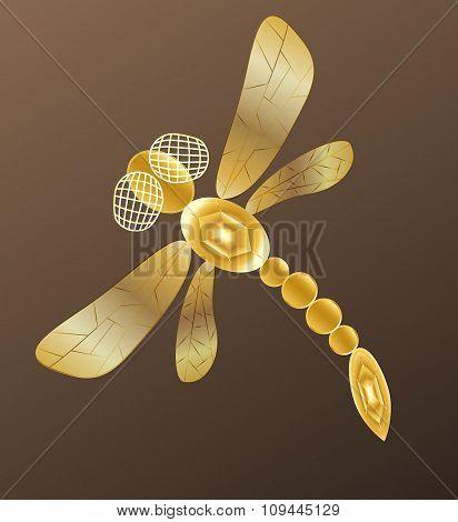 Golden dragonfly on dark background