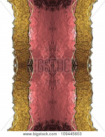 Pink Label With Gold Border. Element For Design. Template For Design. Copy Space For Ad Brochure Or