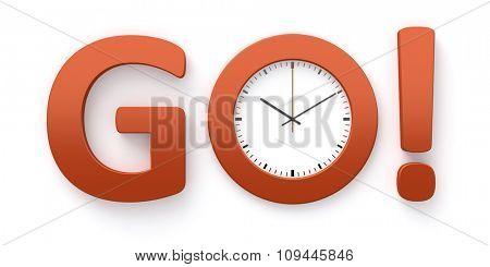 A clock in the o of the word go