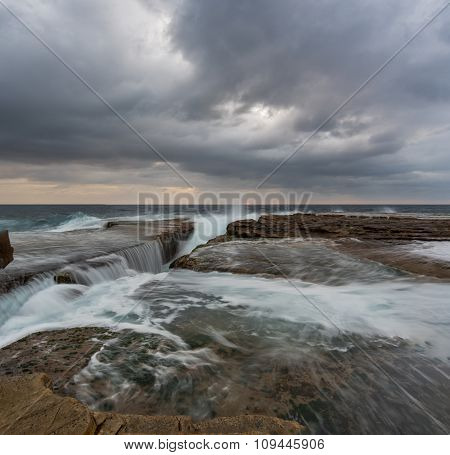 Cloudy Panoramic Seascape With Flowing Water
