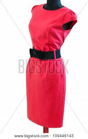 Classic Red Dress With Black Belt On A Mannequin