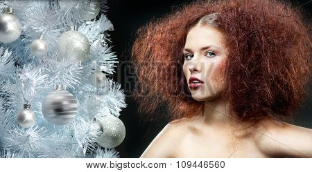 beauty young caucasian woman portrait face skin makeup hair on black background christmas tree new year