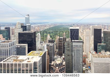 aerial view of manhattan skyscrapers and central park