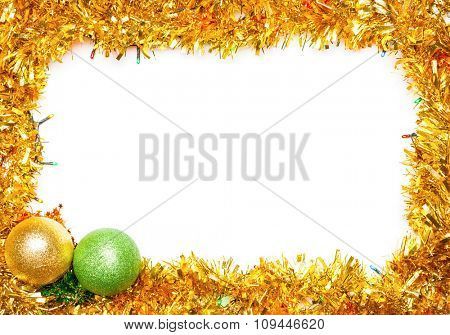Christmas baubles with lights and tinsel frame on �?�?�?е�? background