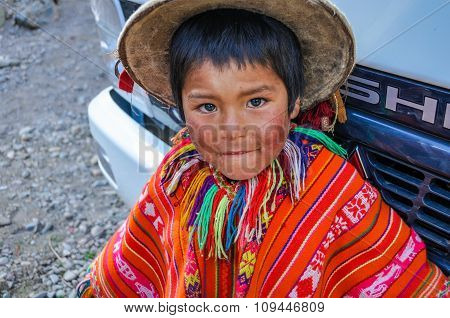 Quechua Boy In A Village In The Andes, Ollantaytambo, Peru