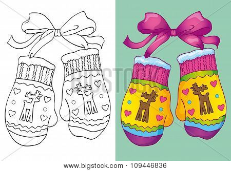 Coloring Book Of Christmas Mittens