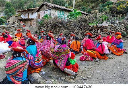 Quechua Women Working In A Village In The Andes, Ollantaytambo, Peru