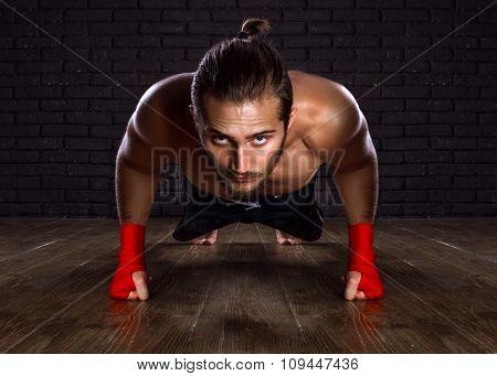 Athlete Doing Push-ups