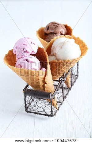 Waffle Cones With Ice Cream On Wooden Table