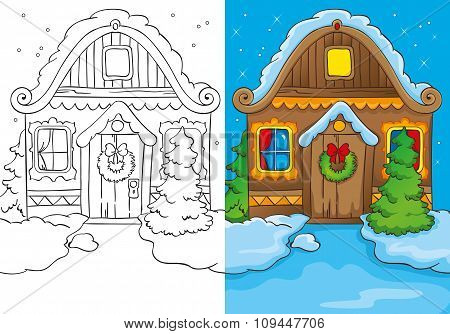 Coloring Book Of Christmas House At Night
