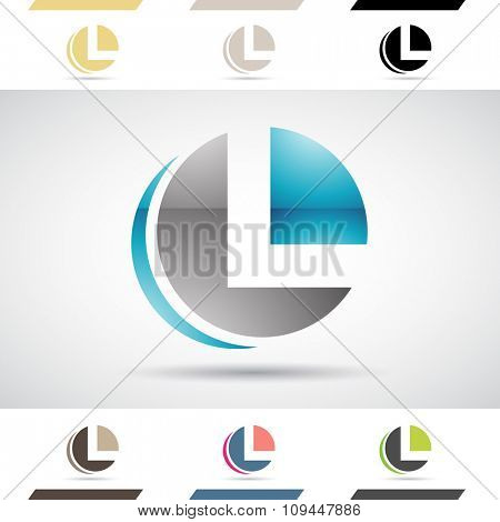 Design Concept of Colorful Stock Icons and Shapes of Letter L, Vector Illustration