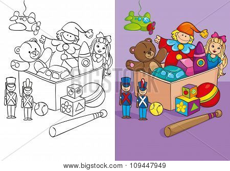 Coloring Book Of Box With Different Toys