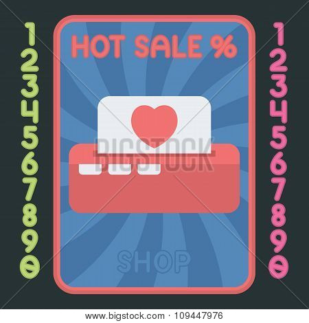 Printer With Heart Flat Design Icon. Vector Hot Sale Label.