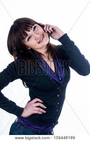 Beautiful brunette girl talking on phone