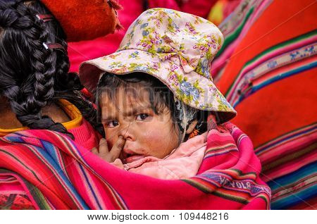 Quechua Baby In A Village In The Andes, Ollantaytambo, Peru