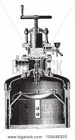 Controller relaxing fitted on a vertical heater, vintage engraved illustration. Industrial encyclopedia E.-O. Lami - 1875.