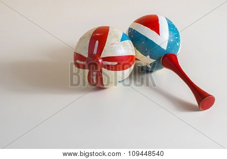 Old maracas on a bright surface