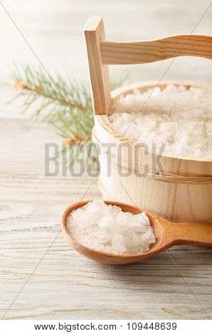 Wooden Bucket And Spoon
