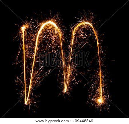 Sparkler Firework Light Alphabet M (small Letters) At Night