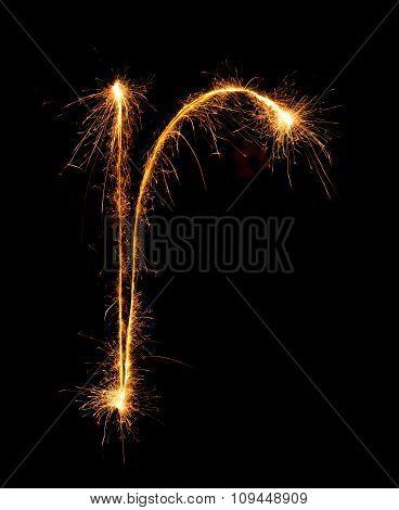 Sparkler Firework Light Alphabet R (small Letters) At Night