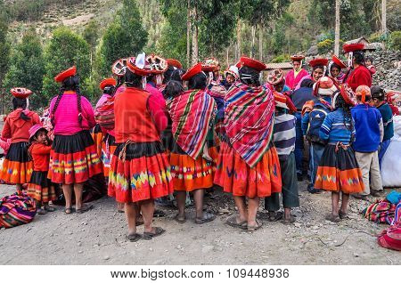 Quechua Reunion In A Village In The Andes, Ollantaytambo, Peru