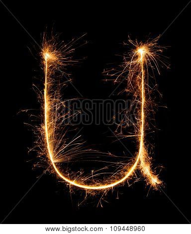 Sparkler Firework Light Alphabet U (small Letters) At Night