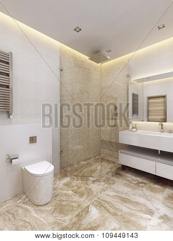 The Bathroom Is In A Minimalist Style.