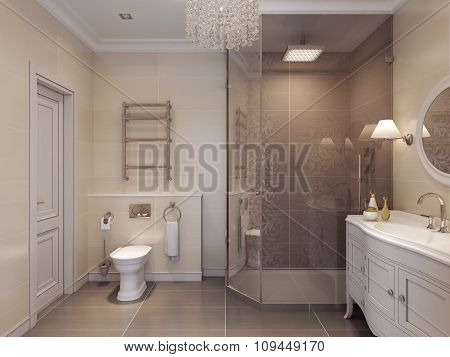 Luxurious Bathroom In The Art Deco Style.
