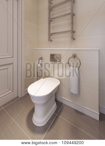 Toilet Room In A Classical Style. In Beige Tones.