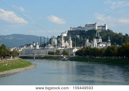 Old City At Salzach River In Salzburg In Austria