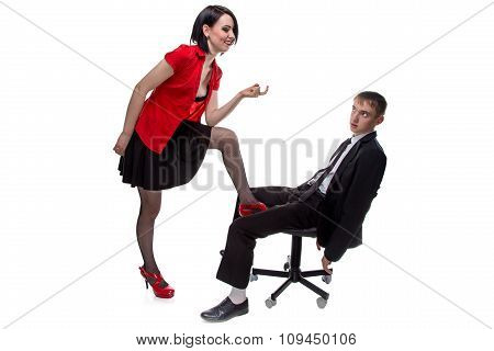 Woman and man sitting on chair