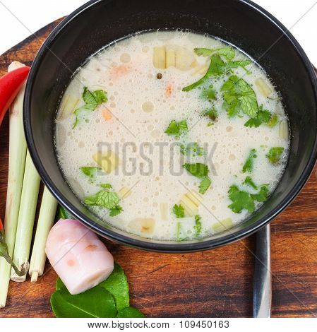 Top View Of Thai Soup Tom Yam And Ingredients