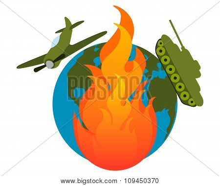 War. Burning land with tanks and aircraft. Vector illustration