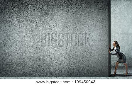 Blank concrete banner