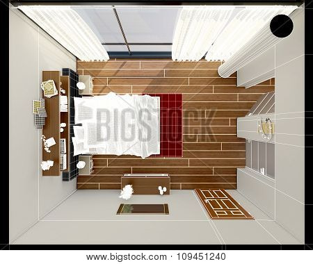 3D Interior Rendering Of A Modern Bedroom