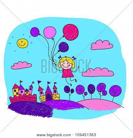 Vector illustration of happy princess girl.