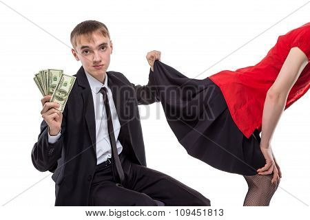 Woman and man with money looking under skirt