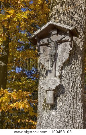 Christian Wayside Shrine On A Beech Tree With Colorful Leaves