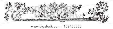 Drawn border of Hours of Louis of France, Duke of Anjou, King of Naples, Sicily and Jerusalem, vintage engraved illustration. Industrial encyclopedia E.-O. Lami - 1875.