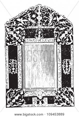 Mirror has brass lamps regrowth, the seventeenth century, vintage engraved illustration. Industrial encyclopedia E.-O. Lami - 1875.