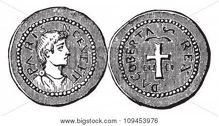 Merovingian currency, vintage engraved illustration. Industrial encyclopedia E.-O. Lami - 1875.