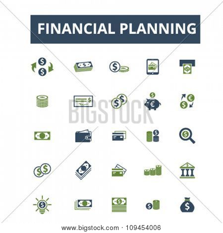 financial planning, finance, bank, credit, savings, investment  icons, signs vector concept set for infographics, mobile, website, application