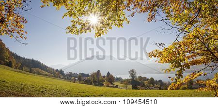 Lookout To Lake Tegernsee From The Hillside, Bavaria