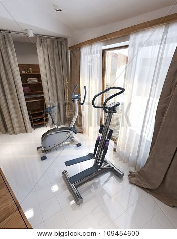 Fitness Room Rustic Style