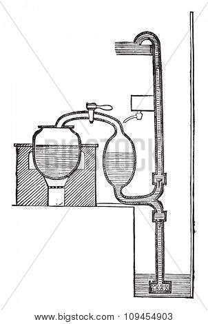 Steam pump Savery, vintage engraved illustration. Industrial encyclopedia E.-O. Lami - 1875.