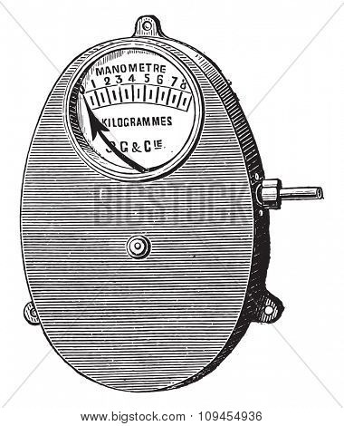 Metal gauge, Bourdon for fixed boilers, vintage engraved illustration. Industrial encyclopedia E.-O. Lami - 1875.