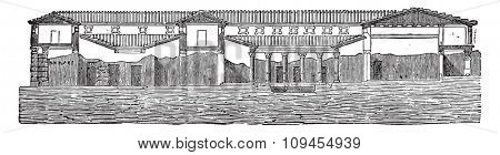 Cutting the said house of Pansa at Pompeii, vintage engraved illustration. Industrial encyclopedia E.-O. Lami - 1875.
